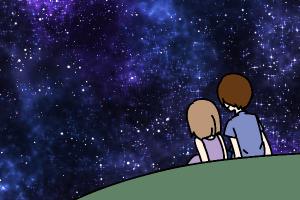 夜空を見上げるカップル