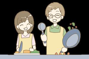 結婚相談所 仲良く料理を楽しむ夫婦